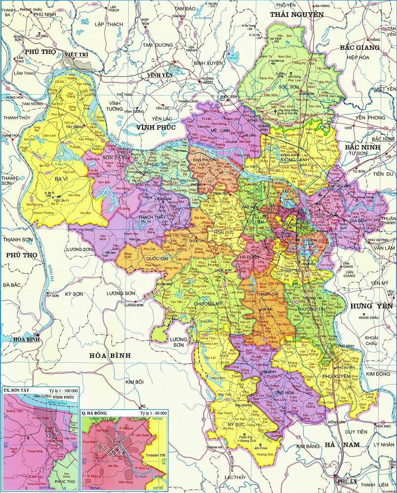 Hình ảnh bản đồ thành phố Hà Nội