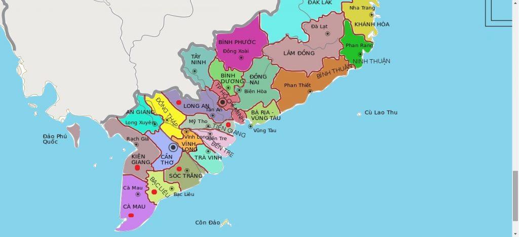 Bản đồ các tỉnh miền Tây