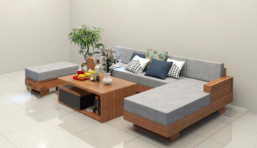 Thật sang trọng với bộ sofa gỗ chữ L
