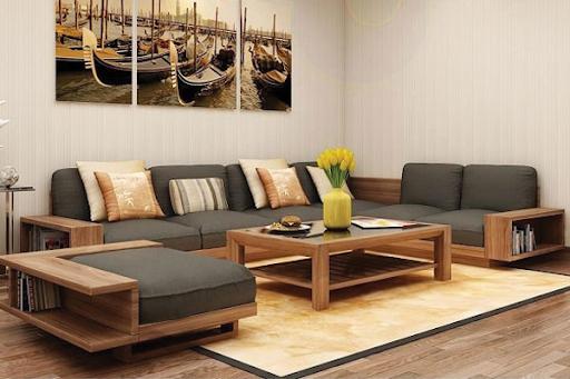 sofa gỗ chữ l có thiết kế tủ đựng tiện dụng